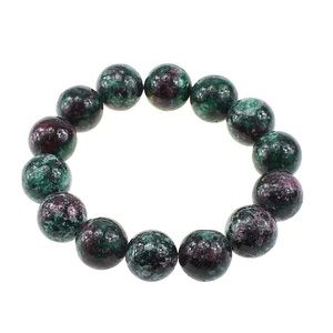 Ruby in Zoisite 14mm Bead Bracelet NWT